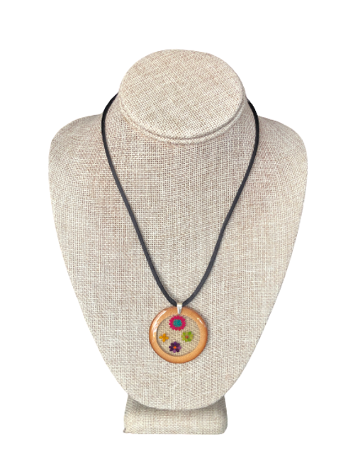 Bamboo Pendant - Multicolored Sesame Seeds and Amaranth