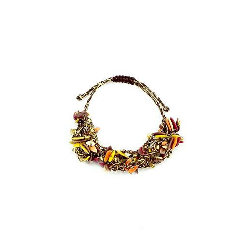 Warm Multicolor Cantaloupe Seed Bracelet