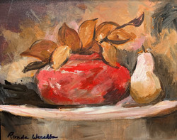 Red Bowl with Pear