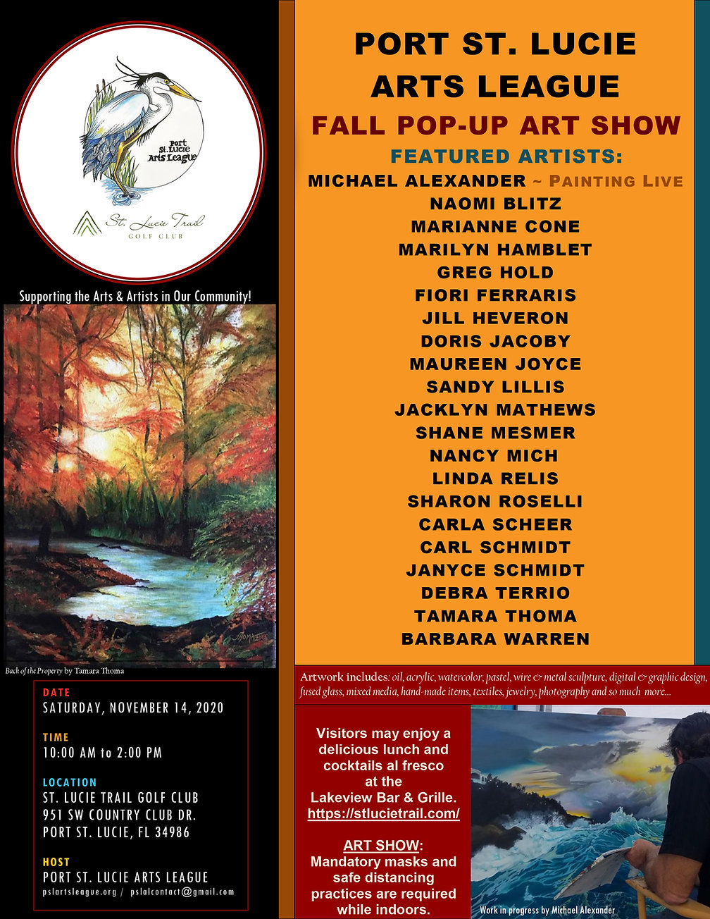 PSLAL Pop-up ART SHOW St. Lucie Trail Go