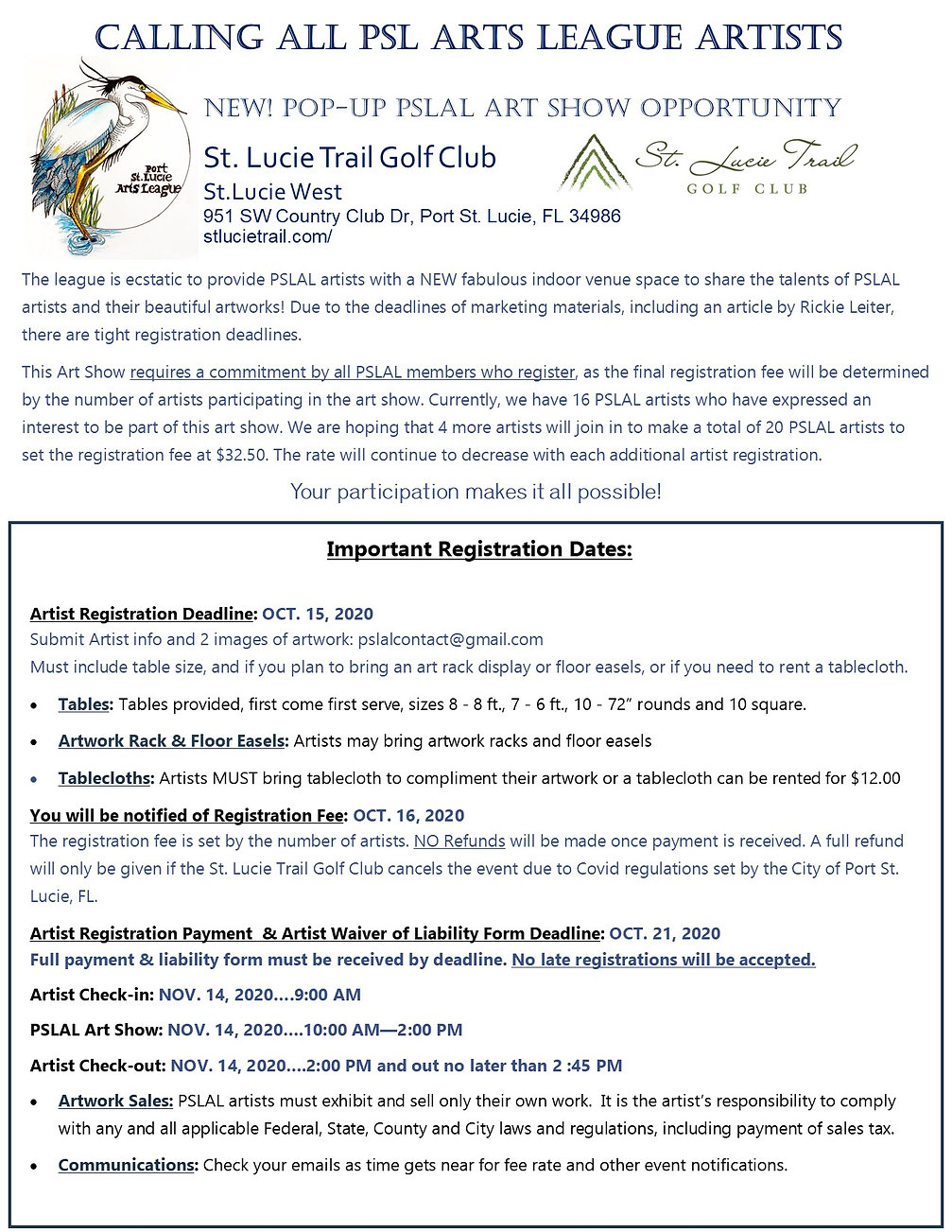St. Lucie Golf Club Artist Registration.