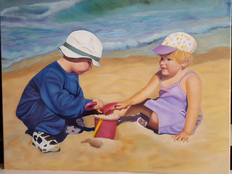 Grandkids On Beach