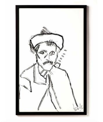 Fisher / Ink & charcoal on paper / Troels Andersen.