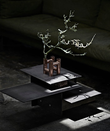 Fantomet / Coffee Table / Black Steel, Patinated Copper and Weathered Oak.