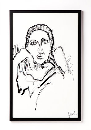 Lady I / Ink on paper / Troels Andersen. SOLD