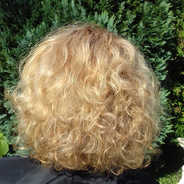 Highlights and cut on curly hair