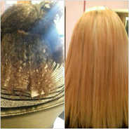 Mixed heritage hair colour-lifted and straightened