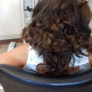 Child flowergirl's wedding hair, curled and styled