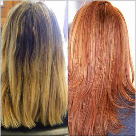 Hair colour change, with added extensions for length, volume and movement