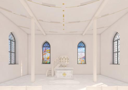 Altar, Kanzel und Chorfenster