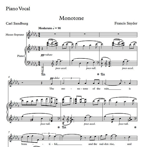 Monotone Piano Vocal Score
