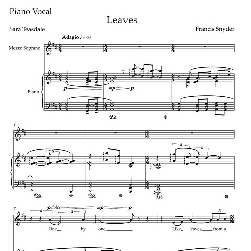 Leaves - Piano Vocal Score