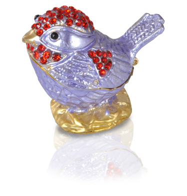 Lavender Bird with Red Crystals