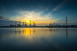 Wide angle landscape and oil Refinery in