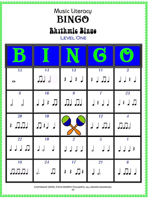 Rhythmic Music Literacy Bingo