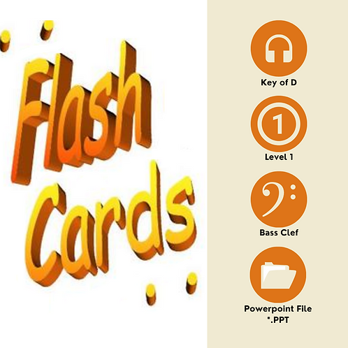 Level 1 Sightreading Flashcards - Key of D, Bass Clef