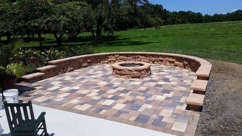 Custom Patio with Retaining Wall