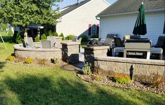Custom Built Patio with Built In Gas Fire Pit