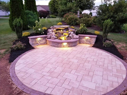 water feature with hardscape