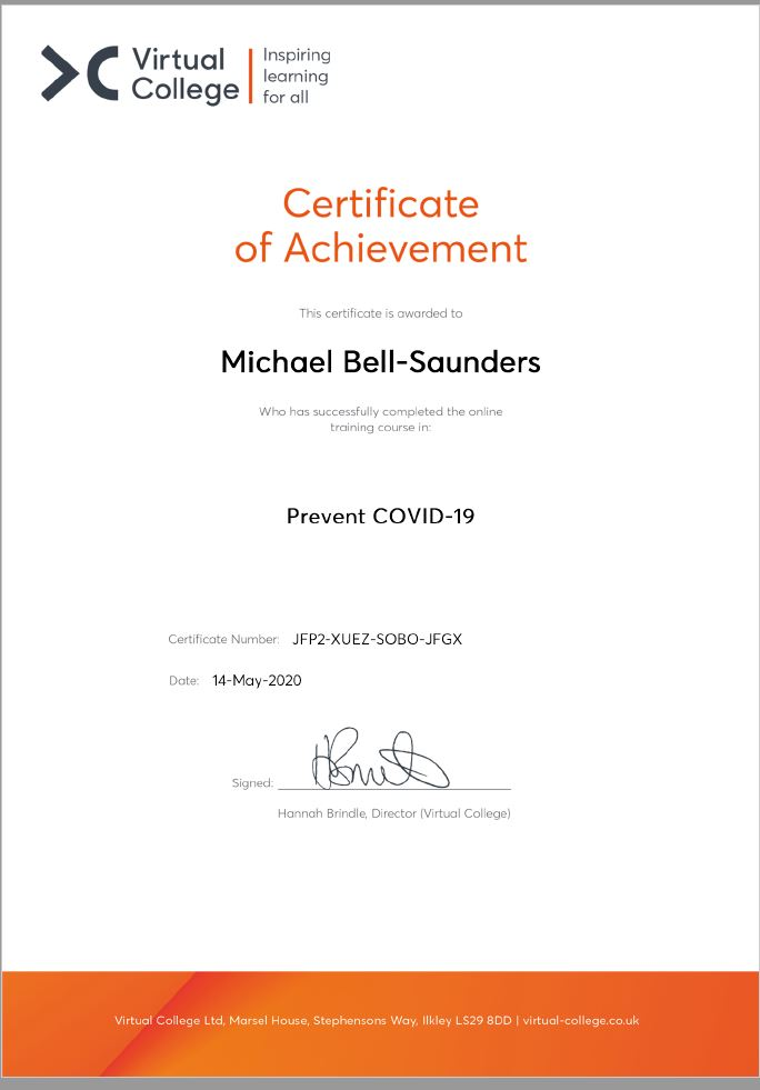 Michael Bell Saunders Cert