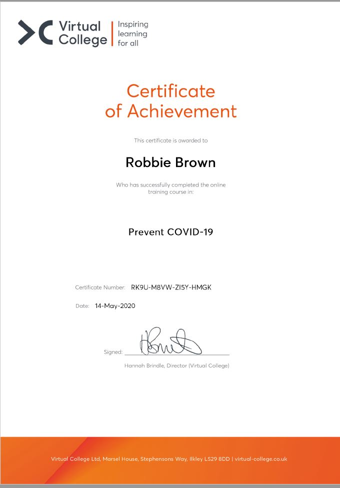 Robbie Brown Cert
