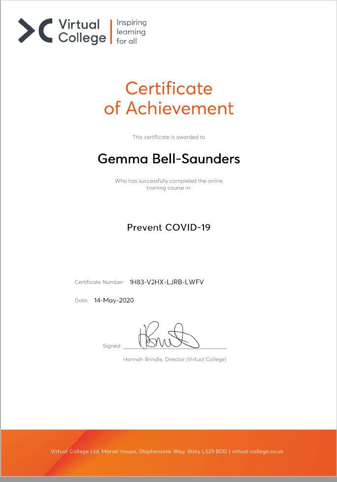 Gemma Bell-Saunders Cert