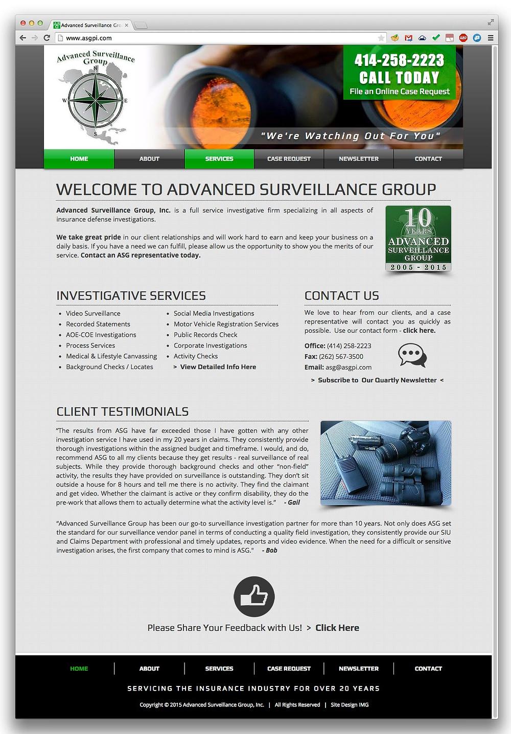 Advanced Surveillance Group Website Screenshot