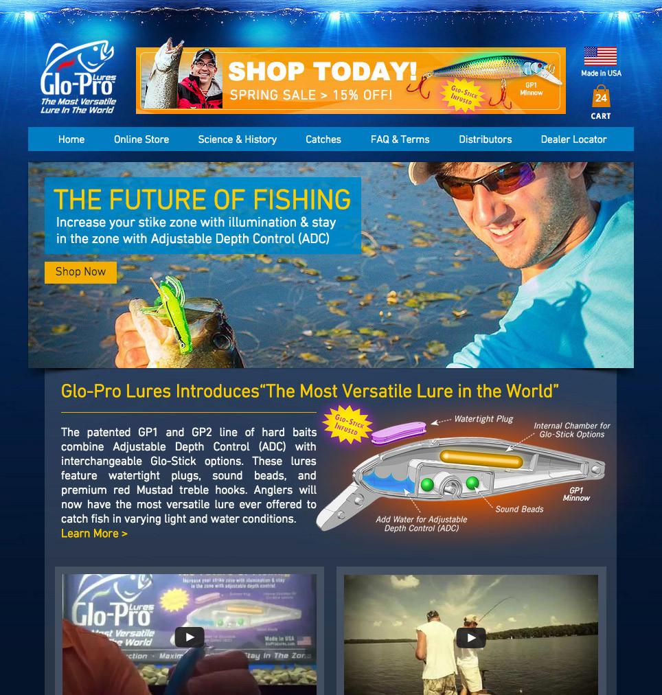 Glo-Pro Lures Website Screenshot