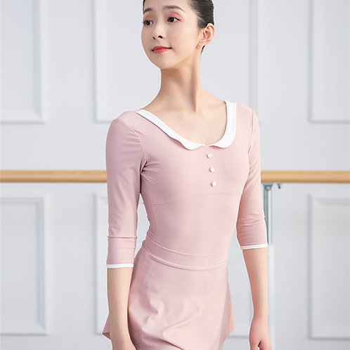 Women's 3/4 sleeve leotard with skirt
