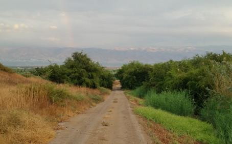 Jordan valley Israel and Moav mountains Jordan