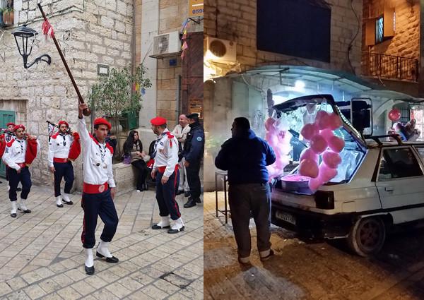 Bethlehem: Pfadfinderaufzug und improvisierter Zuckerwattestand