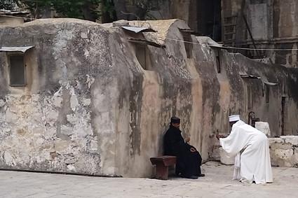 Jerusalem, Dach der Grabeskirche äthiopisches Kloster