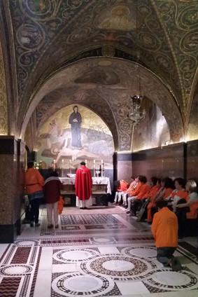 Die franziskanische Kapelle auf dem Golgathafelsen in der Grabeskirche in Jerusalem.