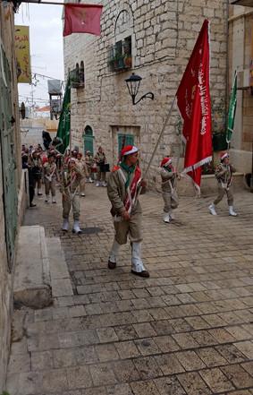 Scout parade on Christmas evening Bethlehem/Palestine