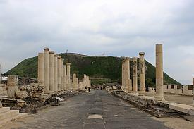 Israel Bet Schean, antiker Cardo und Stadthügel