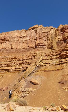 Dykes in den Steilwänden des Ardon-Flusses Ramonkrater/Israel