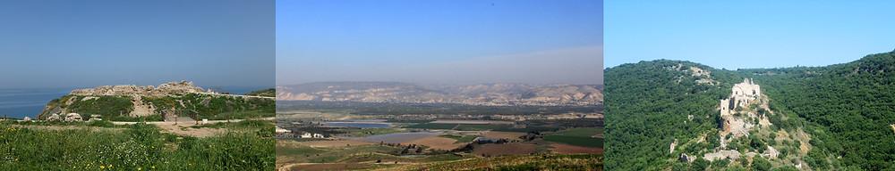 von links: die Burg Apollonia, Ausblick auf die Moavberge Jordaniens von Belvoir und die Burg Montfort