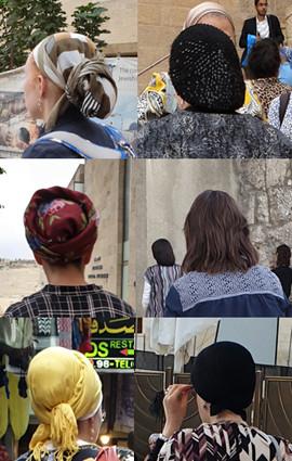 linke Reihe: Kopfbedeckungen orthodoxer und konservativer Jüdinnen, rechte Reihe: Kopfbedeckungen ultraorthodoxer Jüdinnen