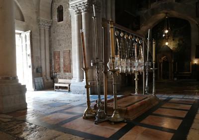 Jerusalem, der Salbungsstein in der Grabeskirche