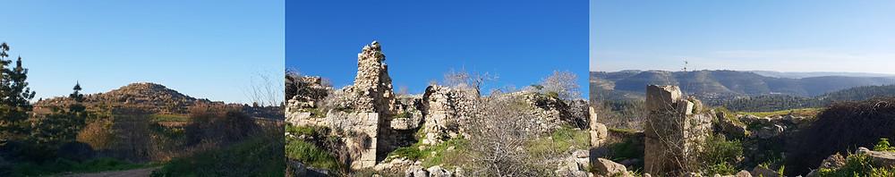 von links: Tel Zuba, Ruinen des osmanischen Dorfes, Blick in die judäischen Berge