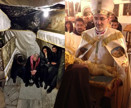 Bethlehem: die Geburtsgrotte in der Weihnachtsnacht und der Lateinische Patriach mit dem Christkind (Danke Tanja Hutt für das stimmungsvolle Bild)