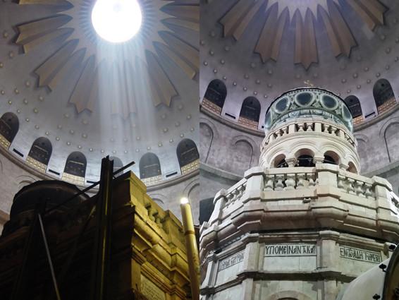 Grabeskirche: Grabeskapelle mit und ohne Stahlkorsett