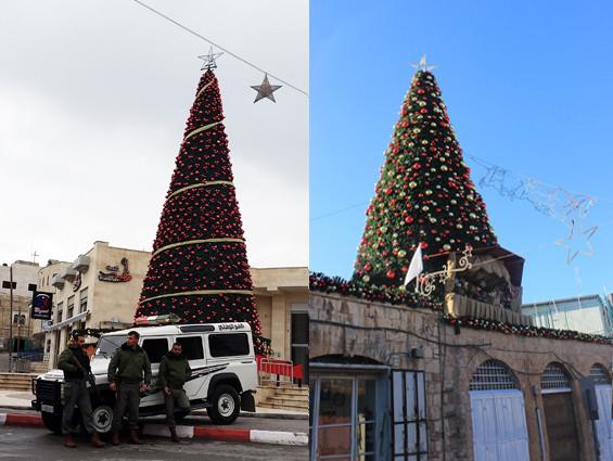 Weihnachtsbäume in Beit Sahour (links) und im Christlichen Viertel von Jerusalem (rechts)