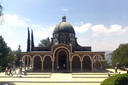 Die Kapelle der Seligpreisungen auf dem Berg der Seligpreisungen am See Genezareth