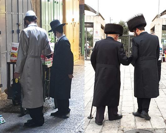 verschiedene ultraorthodoxe Juden, rechts: chassidische Juden
