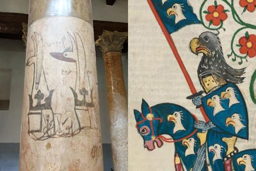 Mittelalterliche Graffiti auf den Säulen der Geburtskirche in Bethlehem links und Illustration aus dem Codex Manesse rechts