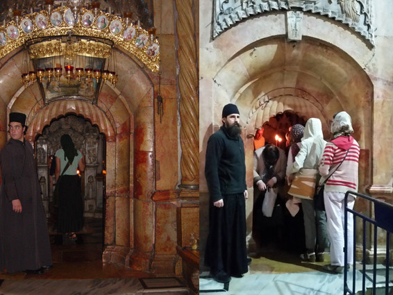Grabeskirche: Eingang zum Jesusgrab 2003 und 2017. Man beachte das linke Bild und darauf den rechten Türpfosten mit schief sitzendem Stein