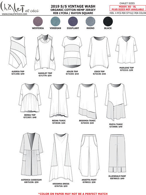 Vintage Wash Organic Cotton Hemp Jersey RIB Lycra/ Rayon Square Linesheet