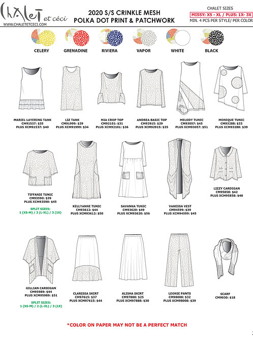 Crinkle Mesh Polka Dot & Patchwork Print 2020