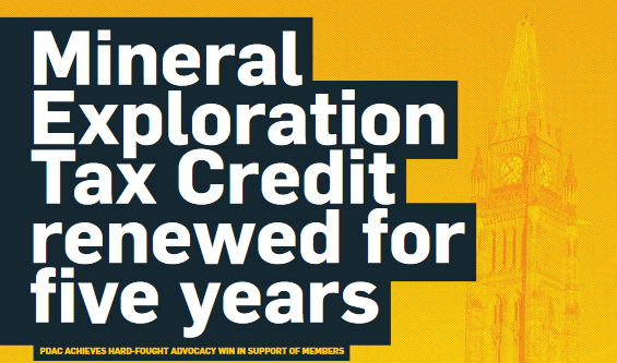 Mineral Exploration Tax Credit renewed for 5 years